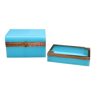 Early 20th Century French Tiffany Blue Opaline Glass Box and Ashtray Set For Sale