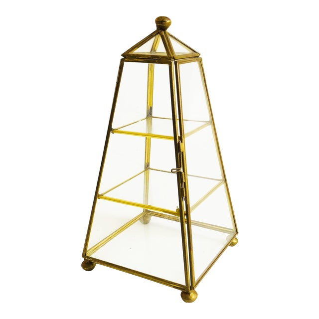 Vintage Brass and Glass Pyramid Jewelry Display Box For Sale