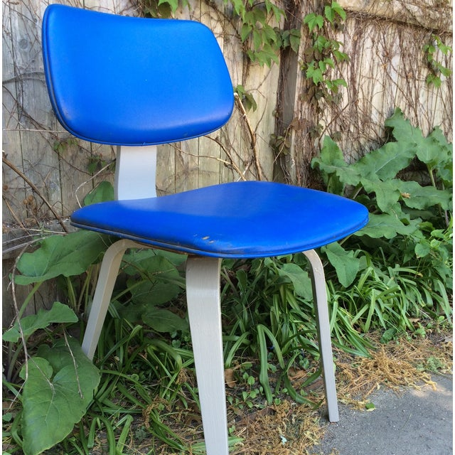 Blue Vinyl and Light Grey Thonet Side Chair - Image 3 of 5