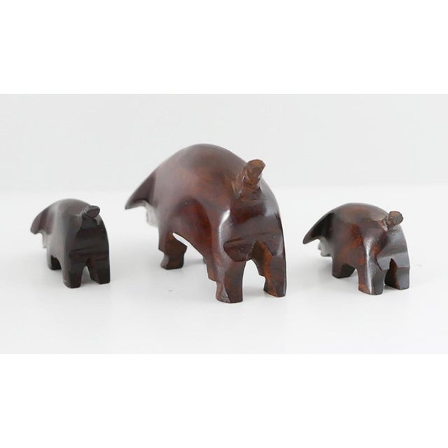 """Hand Carved """"These Three Little Pigs Went to the Market"""" Statues- Set of 3 For Sale - Image 4 of 6"""