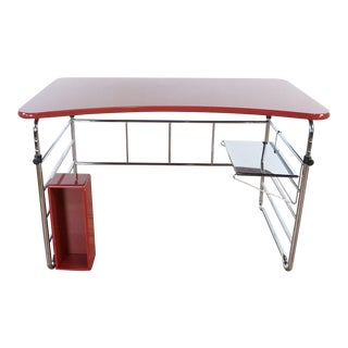 Red and Chrome Desk For Sale
