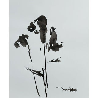 Contemporary Minimalist Floral Still Life Ink Wash Painting by Jose Trujillo For Sale