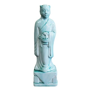 Early 20th Century Chinese Celadon-Glazed Porcelain Court Attendant Figurine For Sale