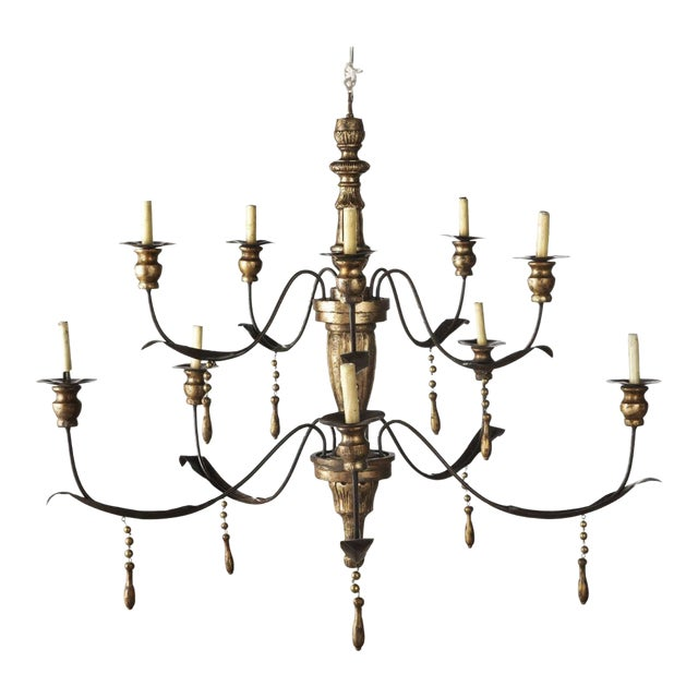 Monumental Ten Light Italian Painted Chandelier With Gold Leaf Tassels For Sale