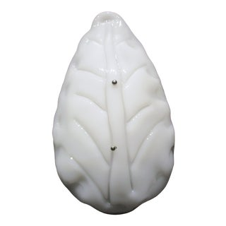 1985 Camer Glass Large Murano White Glass Leaf Sconce, New York City For Sale