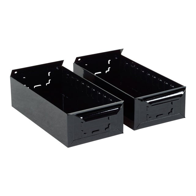 1950s Card File Drawers, Refinished in Gloss Black, Two Available For Sale