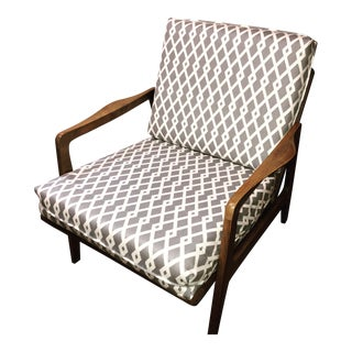 Mid-Century Yugoslavian Walnut Lounge Chair For Sale