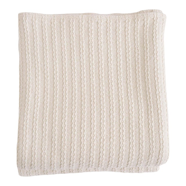 Cableknit Blanket in Natural, Full/Queen For Sale