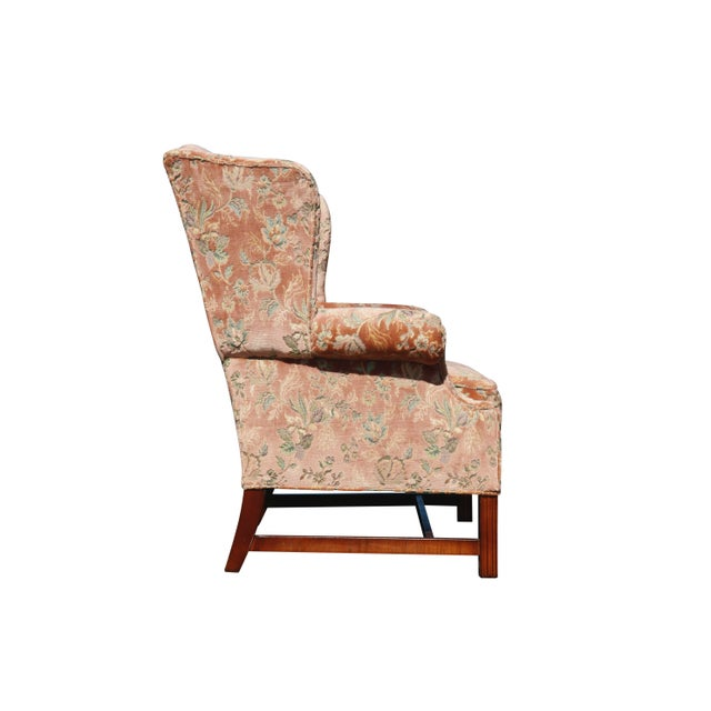Floral Wingback Chairs in Blush - a Pair For Sale - Image 4 of 8