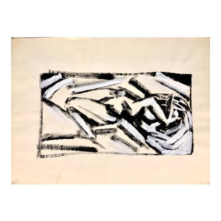 """Donald Stacy """"Curled Up Cubist C.1950s Gouache Mid Century Painting For Sale"""
