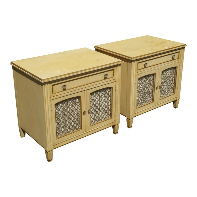 Vintage Kindel French Country Cottage Cream Nightstands - A Pair - Image 1 of 11
