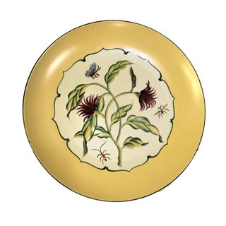 Vintage Botanical Themed Soft Paste Dinner Wall Plate For Sale