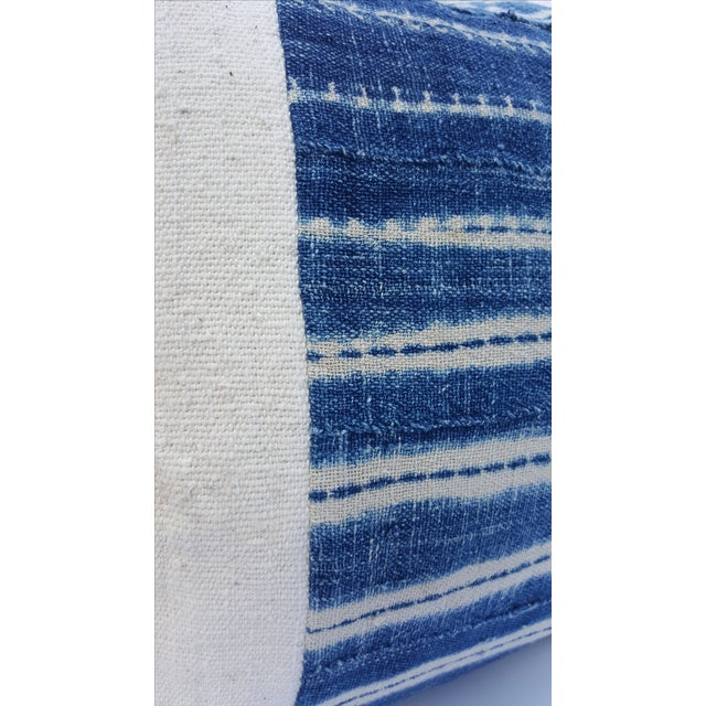 African Mud Cloth White and Blue Striped Pillow - Image 3 of 4