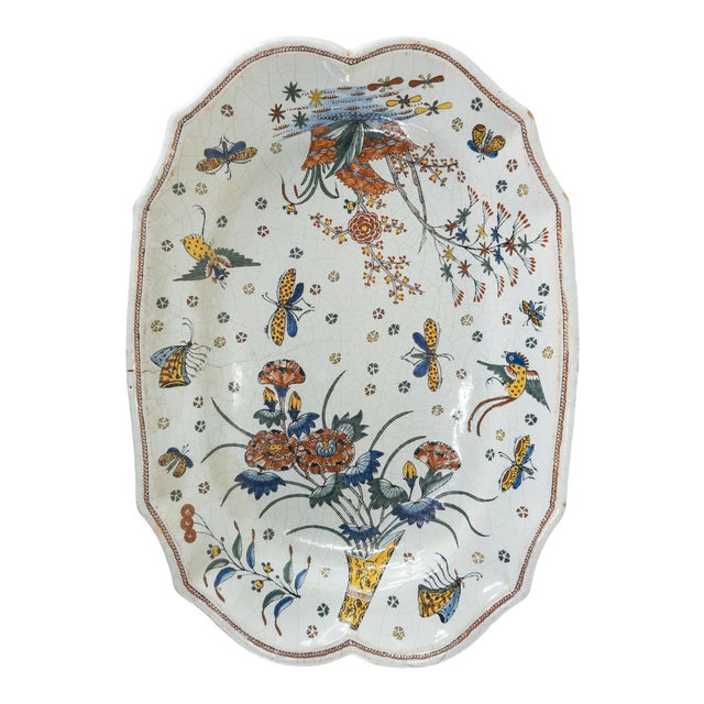 French or Dutch Faience Delft Polychrome Chinoiserie Platter For Sale