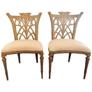 Hollywood Regency Maison Jansen Palm Tree Form Carved Side Chairs - A Pair