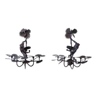 Metal and Cast Iron Monkey and Palm Sconces - A Pair For Sale