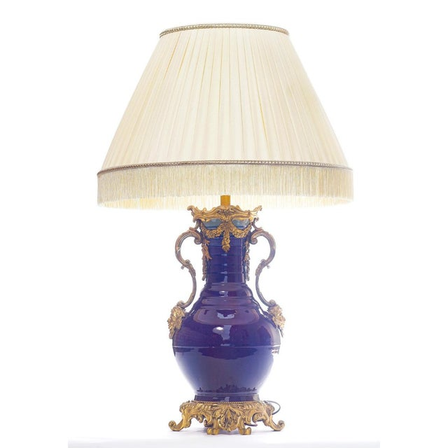 19th Century 19th C. French Doré Bronze Mounted Chinese porcelainLamp With Custom Silk Shade For Sale - Image 5 of 5