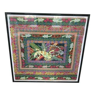 Vibrant Signed and Framed Jan Barwick Silk Scarf For Sale