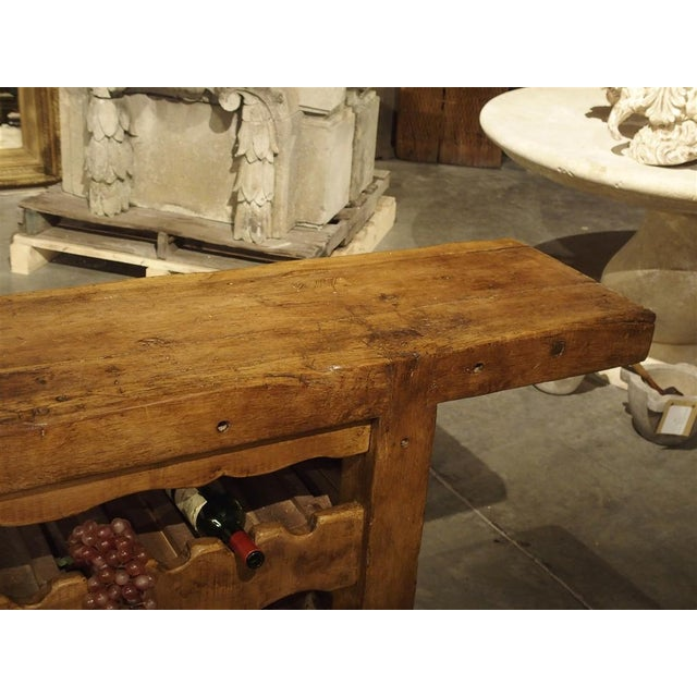 """Walnut Antique """"Bourgogne"""" French Wine Carrier Converted From a Workbench For Sale - Image 7 of 13"""
