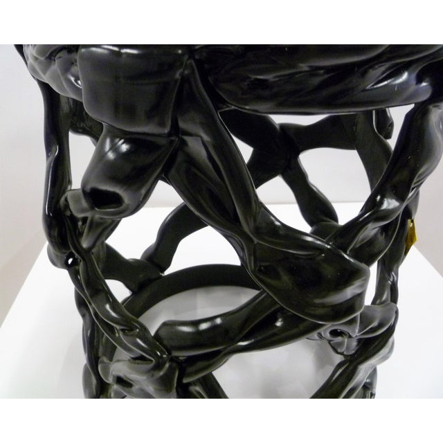 1970s Ribbon Stool Black Resin and White Vynil Seat For Sale In Miami - Image 6 of 8