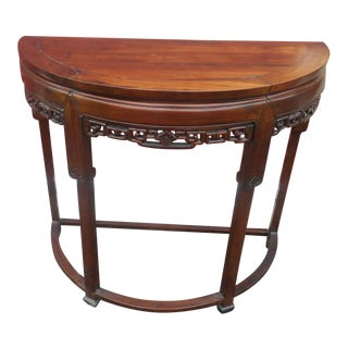 19th Century Chinese Demi-Lune Hand Carved Console Table For Sale