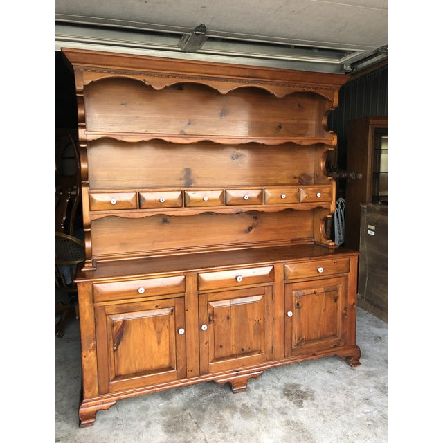 Charming Colonial Pine 2pc Dining Room Hutch Solid From The 50s Upper Section