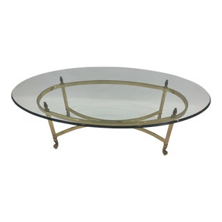 Classic Labarge Brass and Oval Glass Coffee Table For Sale