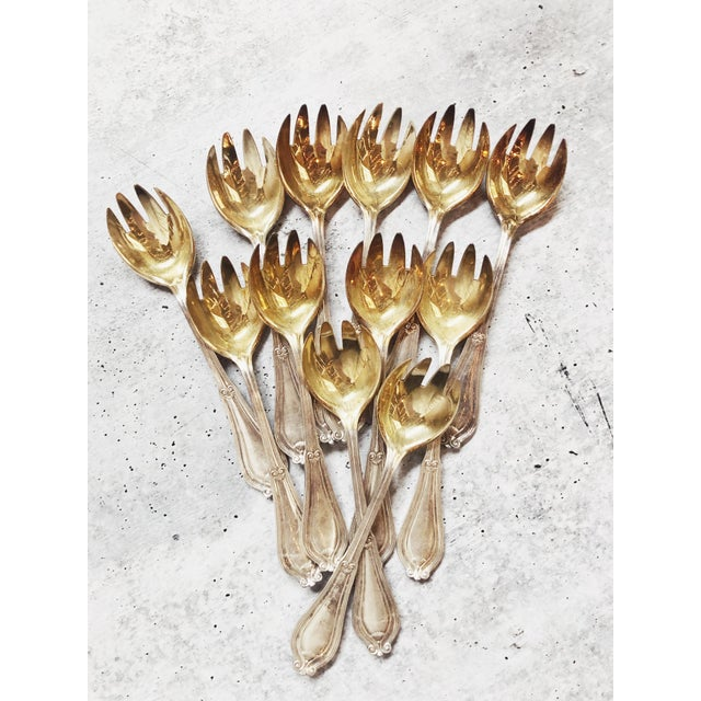 Gold 1910s Antique Tiffany & Co Silver and Gilt Ice Cream Forks - Set of 12 For Sale - Image 8 of 8