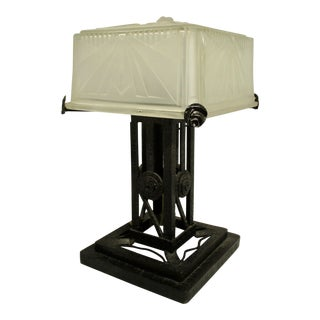 Art Deco French Table Lamp With Deco Glass Shade Verrerie Des Haunts For Sale