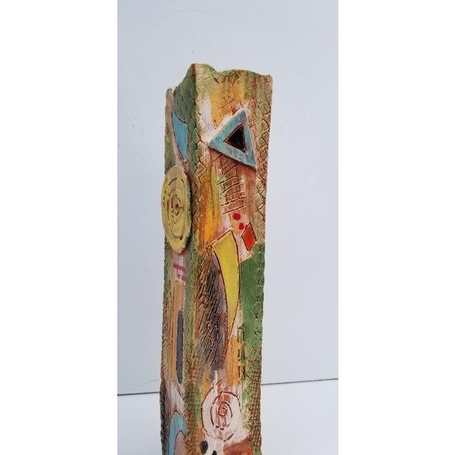 Brutalist 1980s Brutalist Hand-Painted Cubist Shape Pottery Vase For Sale - Image 3 of 12
