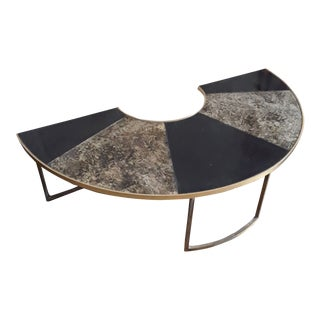 Vintage Mid Century Black and Brass Demilune Coffee Table For Sale