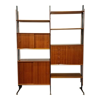 1960s Danish Modern Teak Italian Wall Unit For Sale