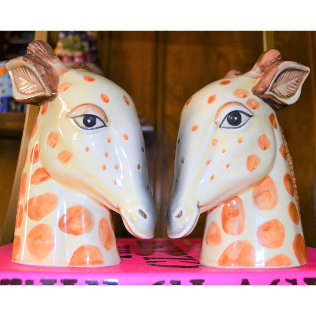 Vintage Fitz & Floyd Porcelain Giraffe Bookends - A Pair For Sale - Image 9 of 11