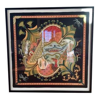 Hermes 'Les Printemps De Thera' Scarf Framed Art For Sale