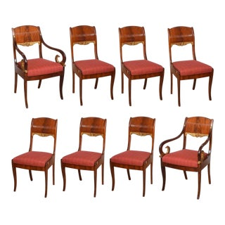 Set of Eight Russian Neoclassic Mahogany and Parcel Gilt Dining Chairs For Sale