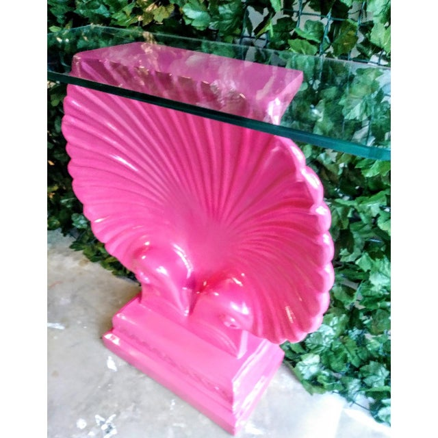 1960s Clam Shell Bright Pink Palm Beach Regency Console Table Base Grosfeld House Style For Sale - Image 5 of 11