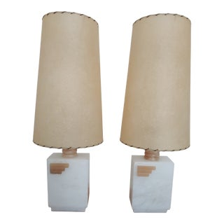 1950s Vintage Art Deco Alabaster Boudoir Lamps - a Pair For Sale