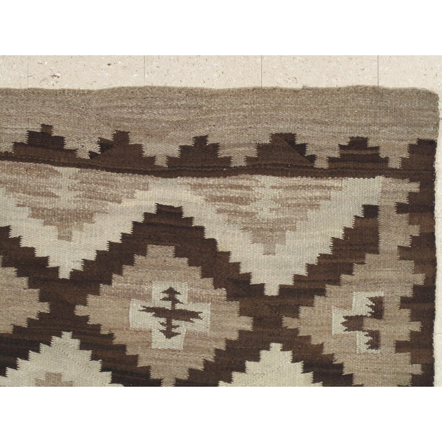 Textile Early 20th Century Antique Navajo Handmade Wool Rug- 5′ × 6′4″ For Sale - Image 7 of 9