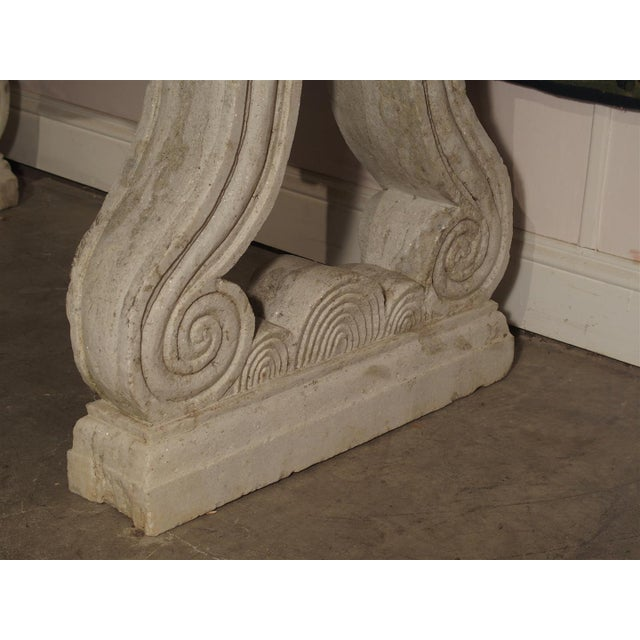 Antique Carved White Marble Console Table from France, 19th Century For Sale - Image 12 of 13