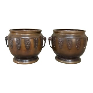 19th Century Brass Chinoiserie Jardiniere - a Pair For Sale