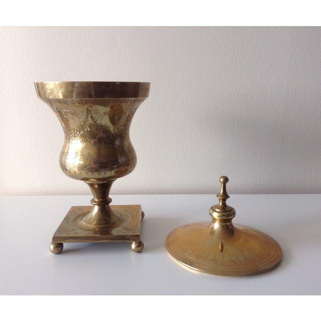Asian Vintage Large Etched Brass Lidded Urn For Sale - Image 3 of 5