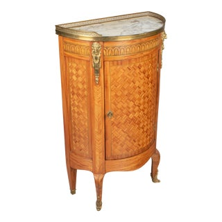 French Louis XVI Style Demilune Console Cabinet For Sale