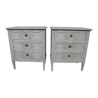 20th Century Vintage Swedish Gustavian Style Nightstands-A Pair For Sale