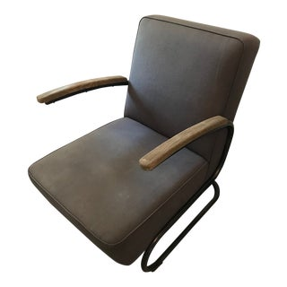 Four Hands Miles Gray Linen Upholstered Club Chair For Sale