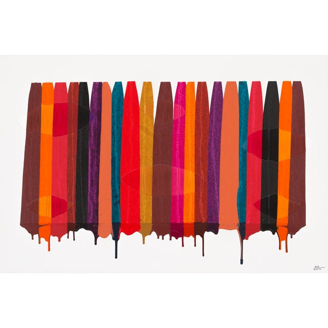 """""""FILS I COLORS CCXLIX"""" is a mixed media work by Raul de la Torre. It weaves textile thread and acrylic paint together; the..."""