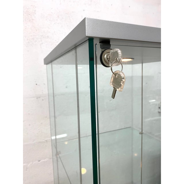 Transparent Contemporary Glass Curio / Vitrine With Spot Lamp For Sale - Image 8 of 13