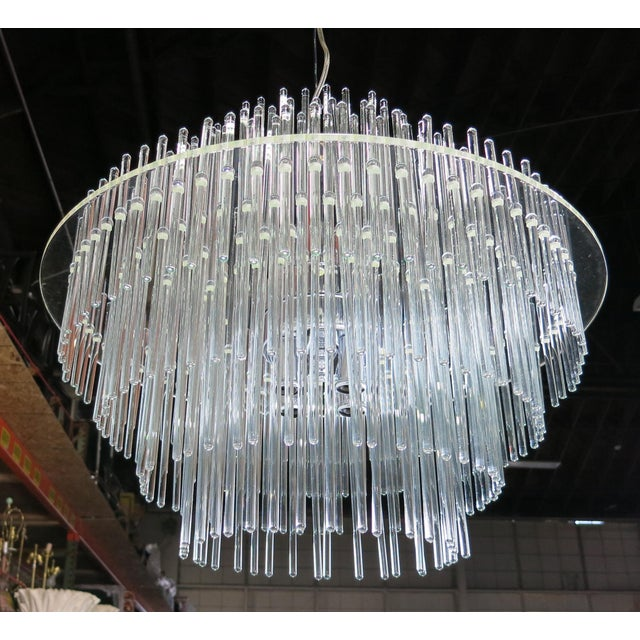 Modern Lucite and Glass Rod Chandelier by Gaetano Sciolari for Lightolier For Sale - Image 3 of 4