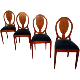 Set of Four Swedish Golden Birch Burl Dining Chairs For Sale