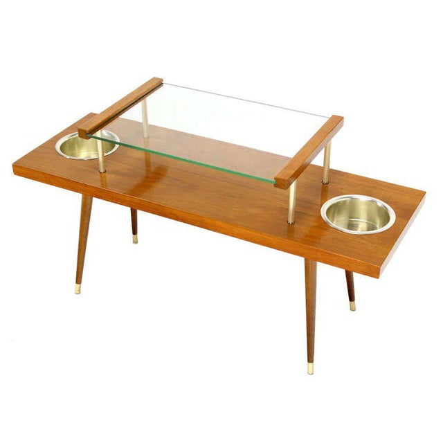 Mid-Century Modern Walnut and Glass-Top Console Table With Planters For Sale - Image 4 of 10
