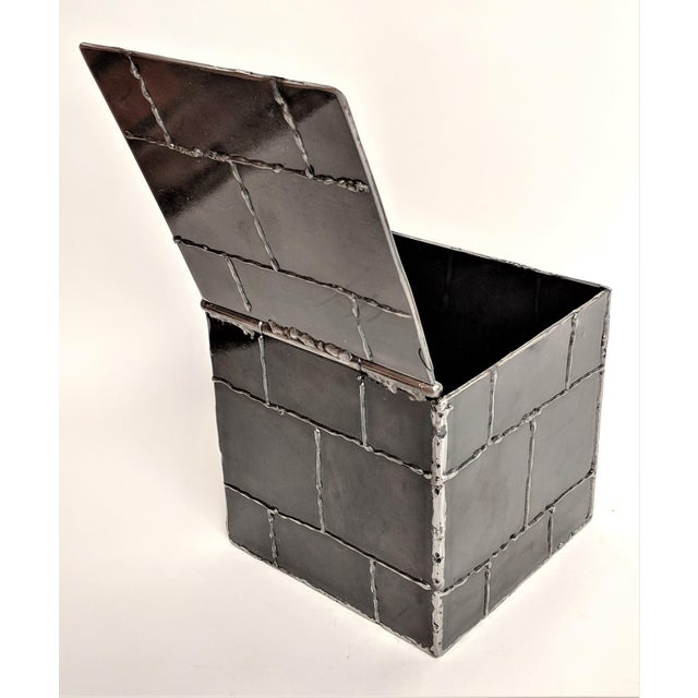 Brutalist Brutalist Metal Box Hand Welded Box For Sale - Image 3 of 12